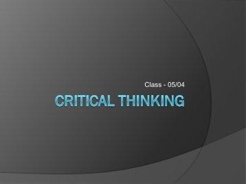 Critical Thinking - Teacherpage