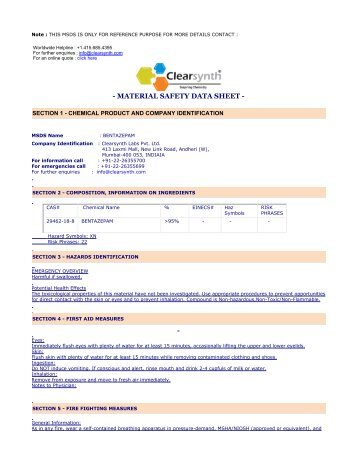 BENTAZEPAM-Material Safety Datasheet - clearsynth
