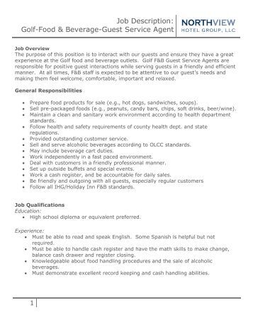 food and beverage supervisor job description