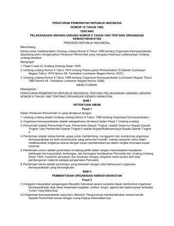 peraturan pemerintah republik indonesia nomor 18 tahun 1986 ...