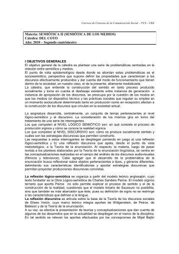 Semiótica II - Del Coto - Carrera de Ciencias de la Comunicación