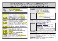 EINLADUNG UND AUSSCHREIBUNG zum 6. OL- Trainingslager im ...