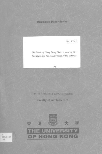 The battle of Hong Kong 1941 : - HKU Libraries - The University of ...