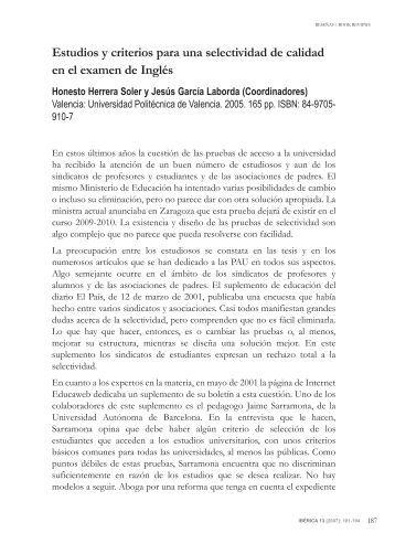 Estudios y criterios para una selectividad de calidad en el ... - aelfe