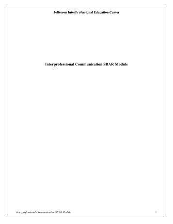 Interprofessional Communication SBAR Module - jeffline