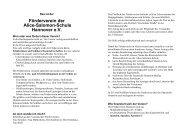 Info-Blatt des Fördervereins - Alice-Salomon-Schule
