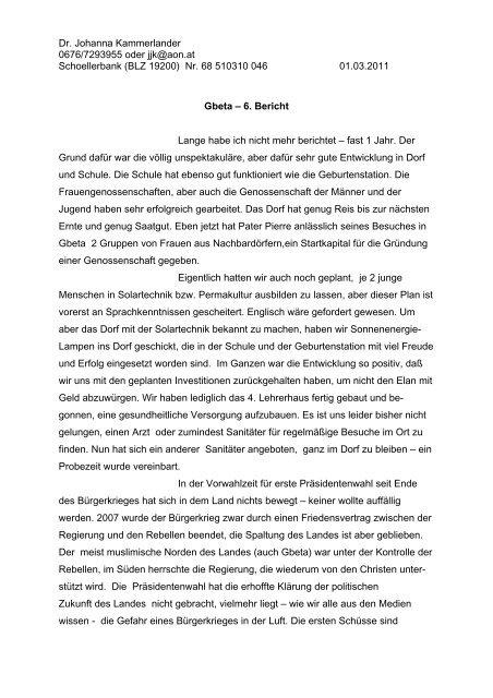 Dr. Johanna Kammerlander 0676/7293955 oder jjk@aon.at ...
