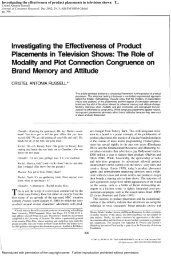 Investigating the effectiveness of product placements in television ...