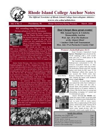Rhode Island College Anchor Notes - Rhode Island College Athletics