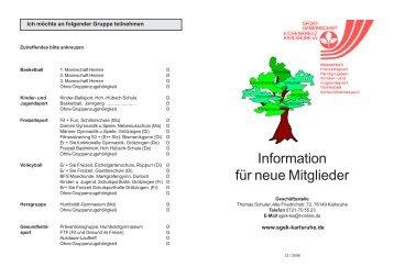 Information neue Mitglieder 12-06.pmd - SG EK Karlsruhe