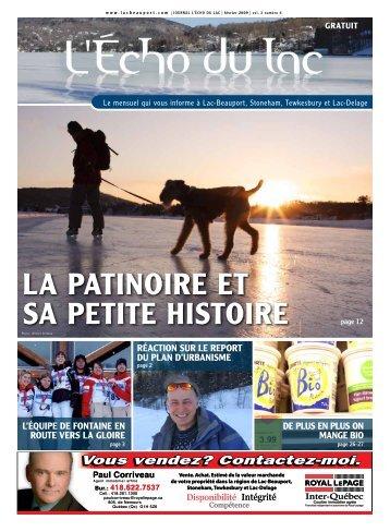 LA PATINOIRE ET SA PETITE HISTOIRE - L'Écho du Lac