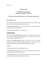 1H2013 Preliminary sales Press Release - Prada Group