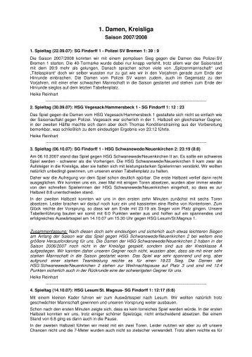 1. Damen, Kreisliga - SG-Findorff eV