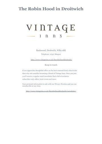 Download The Robin Hood Sunday menu - Vintage Inns