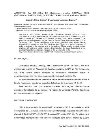 Aspectos da biologia de Callinectes ornatus ORDWAY, 1563