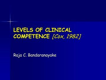 Levels of Clinical Competence