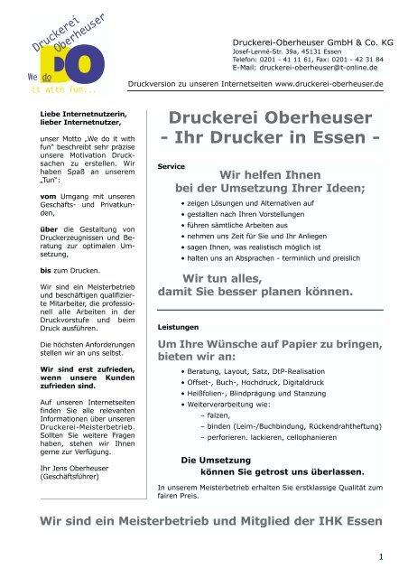 Druckerei Oberheuser Ihr Drucker In Essen