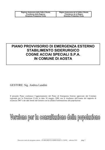 COGNE ACCIAI SPECIALI SPA PIANO 2010 Rev ... - Comune di Aosta