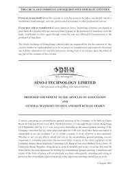 Proposed Amendment to the Articles of Association and ... - Sino