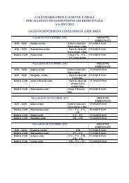 Calendario prove scritte e orali per allievi con