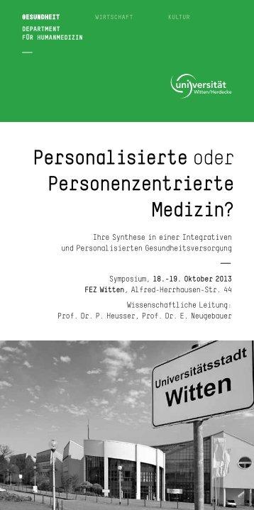 Personalisierte oder Personenzentrierte Medizin? - Sebastian ...
