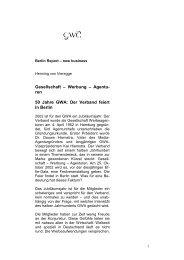 50 Jahre GWA: Der Verband feiert in Berlin - Henning von Vieregge