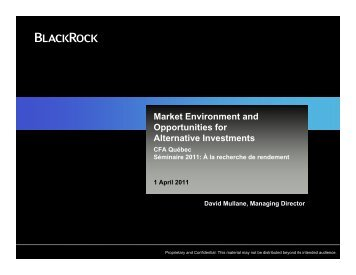 Market Environment and Opportunities for Alternative Investments