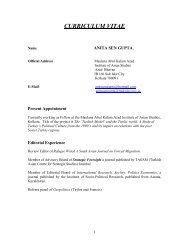 curriculum vitae - Maulana Abul Kalam Azad Institute of Asian Studies