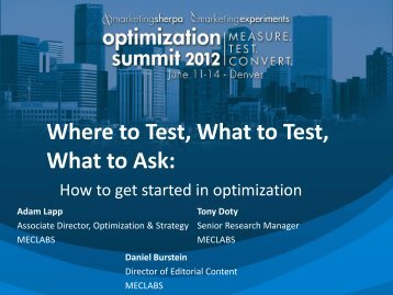 Where to Test, What to Test, What to Ask: - meclabs