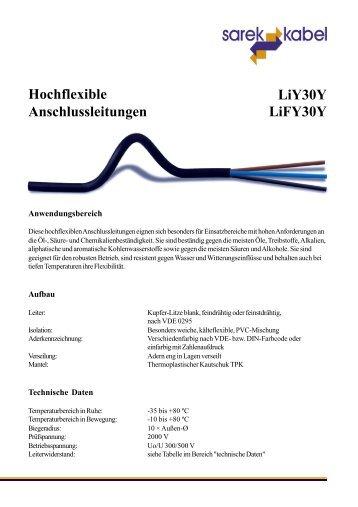Hochflexible Anschlussleitungen LiY30Y LiFY30Y
