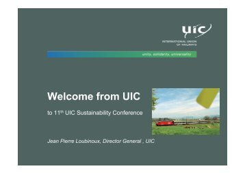 Welcome from UIC - The 12th UIC Sustainability Conference
