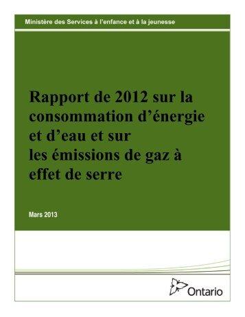 Rapport de 2012 sur la consommation d'énergie et d'eau et sur les ...