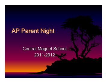 AP Parent Night Presentation - Central Magnet School