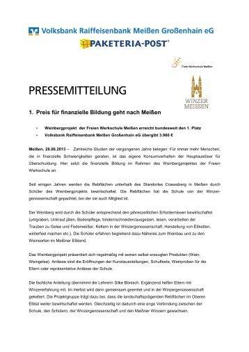 1. Preis für finanzielle Bildung geht nach Meißen - Volksbank ...