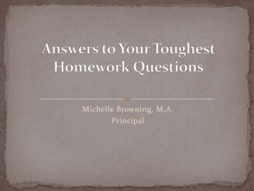 Answers to Your Toughest Homework Questions - Western Christian ...
