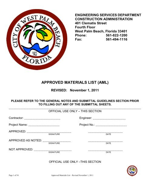 APPROVED MATERIALS LIST (AML) - City of West Palm Beach