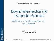 Eigenschaften feuchter und hydrophober Granulate