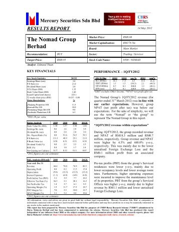 Result Report - The Nomad Group