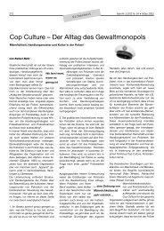 Cop Culture – Der Alltag des Gewaltmonopols - Betrifft Justiz