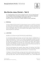 Die Kirche Jesu Christi – Teil II