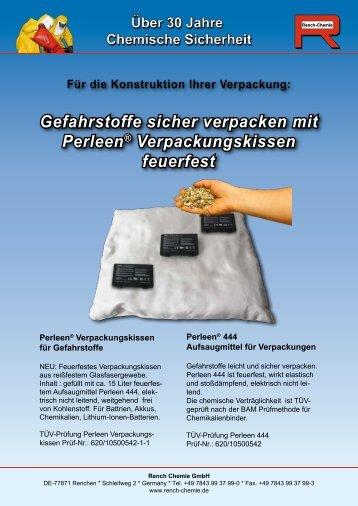 Gefahrstoffe sicher verpacken mit Perleen® Verpackungskissen ...