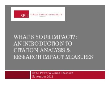 an introduction to citation analysis & research impact measures
