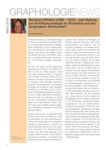 Bernhard Wittlich - Graphologie News