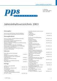 Jahresinhaltsverzeichnis 2003 - PPS Management