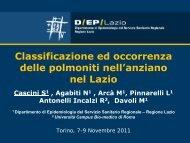 Classificazione ed occorrenza delle polmoniti nell'anziano nel Lazio