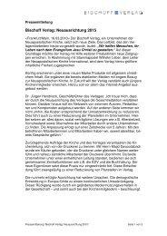 Bischoff Verlag: Neuausrichtung 2015