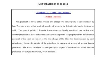 LIST UPDATED ON 01-03-2012 COMMERCIAL TAXES ...