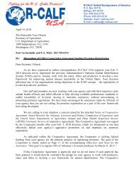 R-CALF USA Letter to Secretary Vilsack Regarding the Arkansas ...