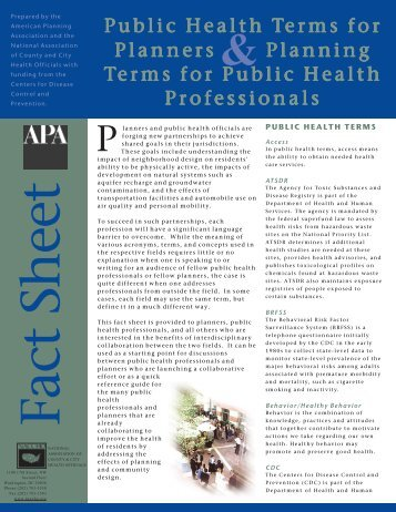Public Health Terms - American Planning Association