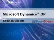 Microsoft Dynamics GP - Binary Stream